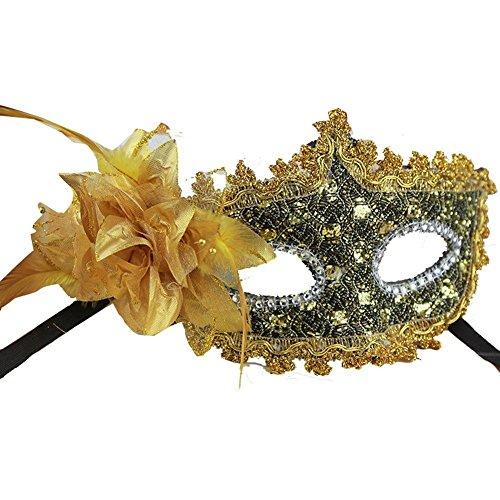 [Lace gold with Rhinestone Liles Venetian Mask Masquerade Halloween Costume] (Rhinestone Masquerade Mask)