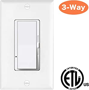 C.L Dimmer, CFL LED Dimmer, 3-Way dimmer Switch for Dimmable LED Light Bulbs, Halogen and Incandescent Light Bulbs,White …v