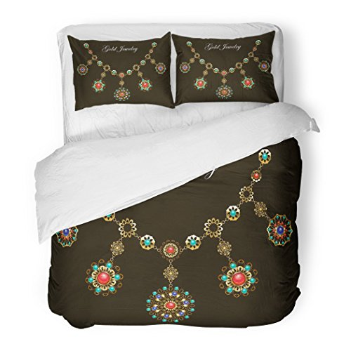 SanChic Duvet Cover Set Ethnic Gold Necklace with Semiprecious Stones Carnelian Turquoise Lapis Lazuli Gems on Black Jewelry Decorative Bedding Set with 2 Pillow Shams Full/Queen Size (Jasper Fabric Necklace)