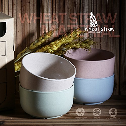 Funnytoday365 4Pcs/Lot Wheat Straw Soup Bowl Chinese Food Container Rice Noodles Salad Bowl Lunch Box Tableware For Children Kitchen Bowls