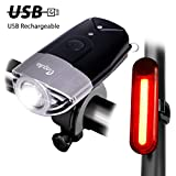 USB Rechargeable Bike Light Set Powerful Lumens Bicycle Headlight Free Tail Light, LED