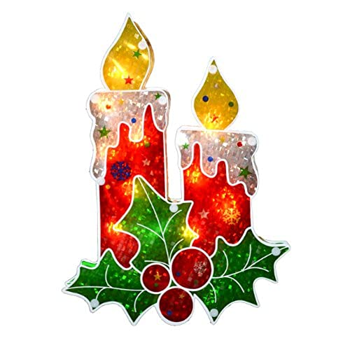 sienna lighted holographic berry candle christmas window silhouette decoration 12 - Holographic Christmas Decorations