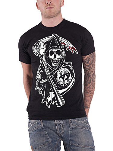 Sons Of Anarchy T Shirt Reaper Crew Classic Soa Logo Official Mens Black