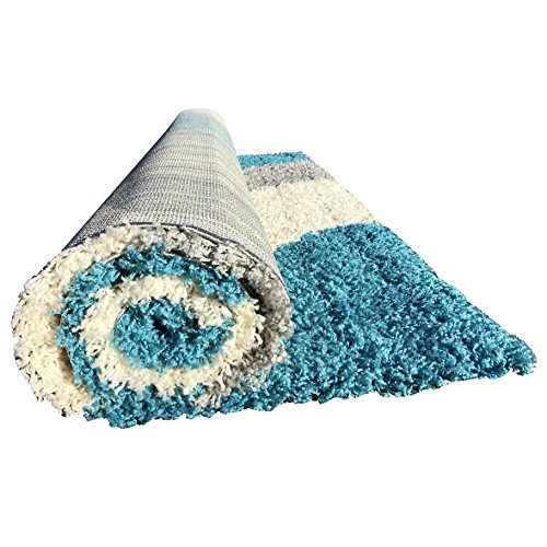 Soft Shag Area Rug 3x5 Geometric Striped Turquoise Grey Shaggy Rug Contemporary Area Rugs For