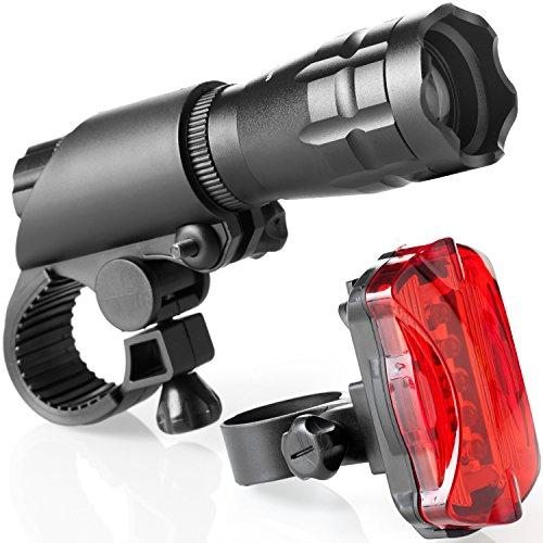 Fahrradlampen Set - Superhelle LED-Lampen fürs Fahrrad - Einfach zu montierende Vorder- und Rücklampe mit Schnellverschluss-System - Beste Front- und Rückbeleuchtung - Passend für alle Räder (BLACK, 200 Lumen)