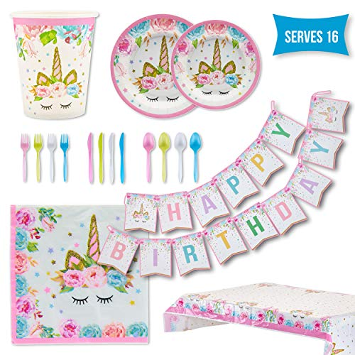 Unicorn Party Supplies Set – Serves 16 – Girls Birthday Decorations Tableware for Kids – Disposable Table Cover, Plates, Cups, Napkins, Utensils & Happy Birthday Banner – by BLUE DONKIE