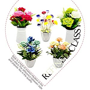 UIKKOT Artificial Fake Flowers Silk Bouquet Roses in Plastic Vase Sturdy Bottom Arrangements for Indoor Outdoor Decorations Wedding Party Home Videos Table Gift or MV (Pink and Yellow) 3