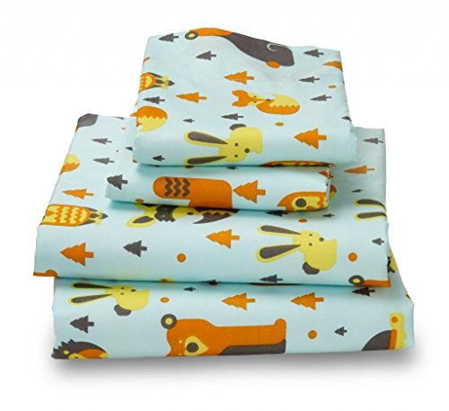 Queen Size Sheets Woodland Creature Fox, Owl and Forest Print Bed Sheet Set for Kids Bedding Set, Grey and blue