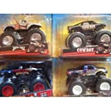 Monster Jam Detailed Diecast Maniac, Jurassic Attack, Cowboy & Excaliber Scale 1/64