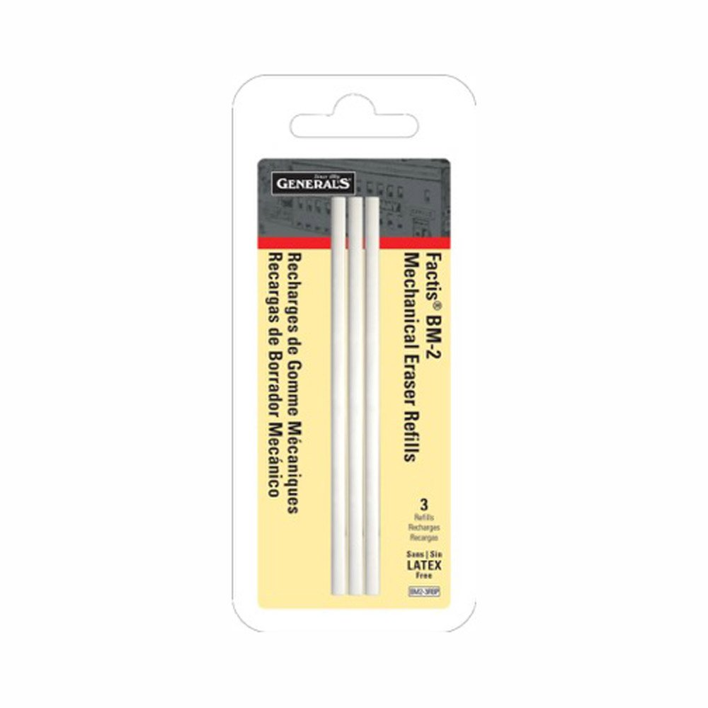 GENERAL PENCIL CO.. GPBM2-3RBP Factis Pen Style Eraser Refills 3Pcs Carded Darice