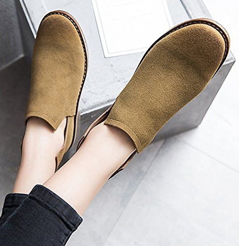 Aisun Womens Vintage Rounded Toe Zip Up Dressy Chelsea Boots Flat Ankle Booties Shoes Khaki TGkjJLjlWe
