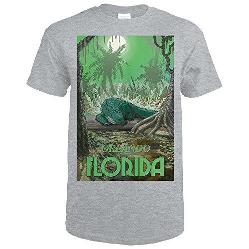 Lantern Press Orlando, Florida - Alligator In Swamp (Sport Grey T-Shirt - Shops Sports Orlando In