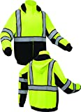 High Vis Lime Green and black Class 3 Heavyweight Premium ONYX Hoodie Sweatshirt with black trim and reflective tape (XXL)