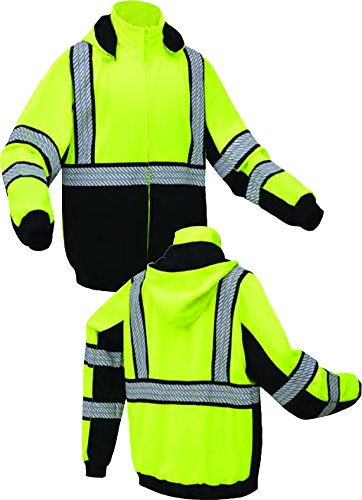 High Vis Lime Green and black Class 3 Heavyweight Premium ONYX Hoodie Sweatshirt with black trim and reflective tape (XXL) by GSS SAFETY (Image #5)