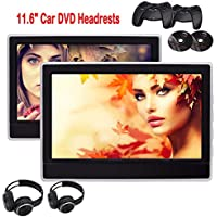 Dual Portable Headrests Upgraded Quality Car DVD Players Twin Screens USB SD Reader FM/IR Transmitter Support Video IN Aux in Back-seat Units 32 Bit Games with Gamepads + Free Wireless Headphones