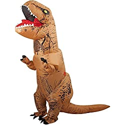 Halloween Inflatable T-Rex Dinosaur Blow Up Dress Up Funny Simulation Luxury Cosplay Costume Suit(Adult Size, Brown)