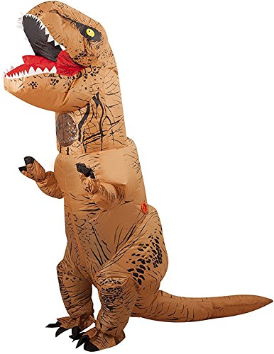 Halloween Inflatable T-Rex Dinosaur Blow Up Dress Up Funny Simulation Luxury Cosplay Costume Suit(Adult Size, Brown) -