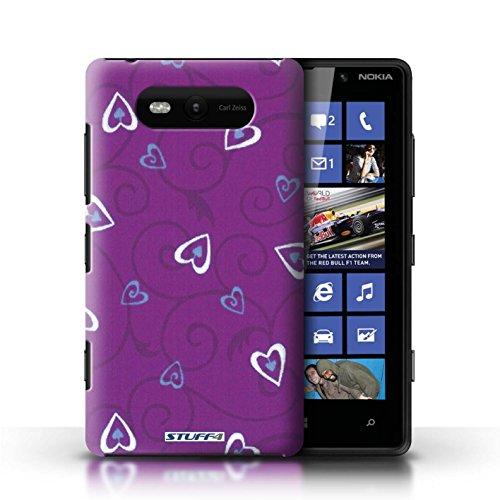 Etui / Coque pour Nokia Lumia 820 / Violet/Bleu conception / Collection de Coeur Vigne Motif