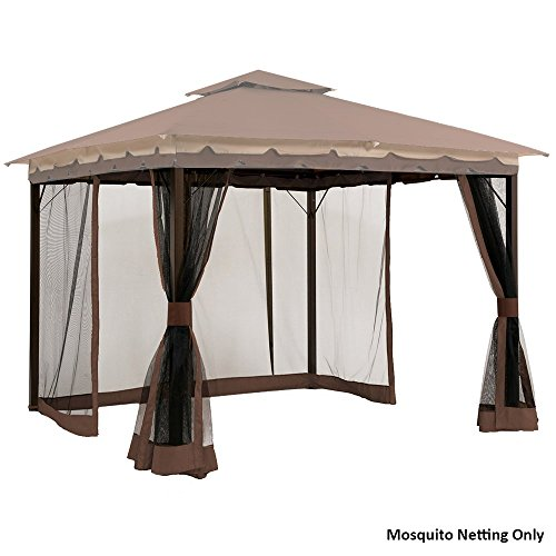Sunjoy L GZ531PST C T Fabric Replacement Mosquito Netting Fits 10 X 12 Gazebos Brown