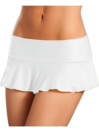 Amazon.com: Mix & Match Sexy White A Line Pleated Ruffle Mini ...