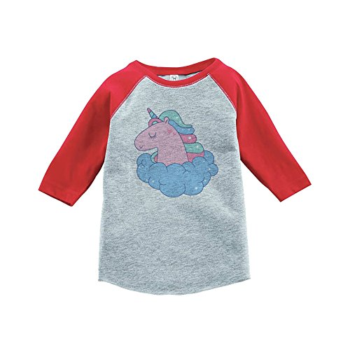 7 Ate 9 Apparel Girl S Valentine S Day Unicorn Red Baseball Tee