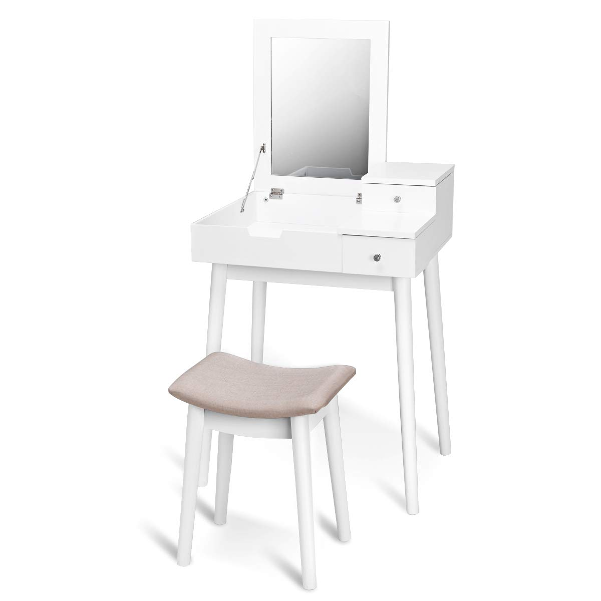 CASART White Vanity Sets - Makeup Organizer Table | Simple Dressing Table | Multi-Purpose Jewelry Armoire with Flip Top Mirror, Matching Stool, 2 Storage Drawers in Bedroom, Home