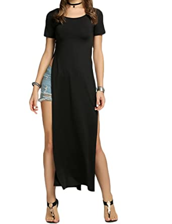 Qearal Womens Casual Short Sleeve Long Maxi Dresses With Side Slit