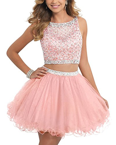 TANGFUTI Two Piece Homecoming Dresses Short Beaded Tulle Formal Prom Gowns 010 Pink US16 by TANGFUTI