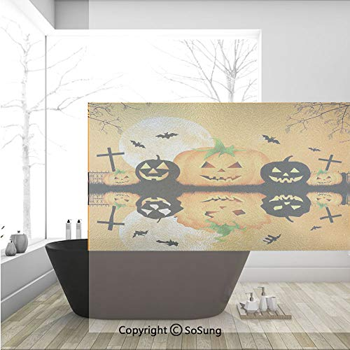 3D Decorative Privacy Window Films,Spooky Carved Halloween Pumpkin Full Moon with Bats and Grave Lake,No-Glue Self Static Cling Glass Film for Home Bedroom Bathroom Kitchen Office 36x24 -