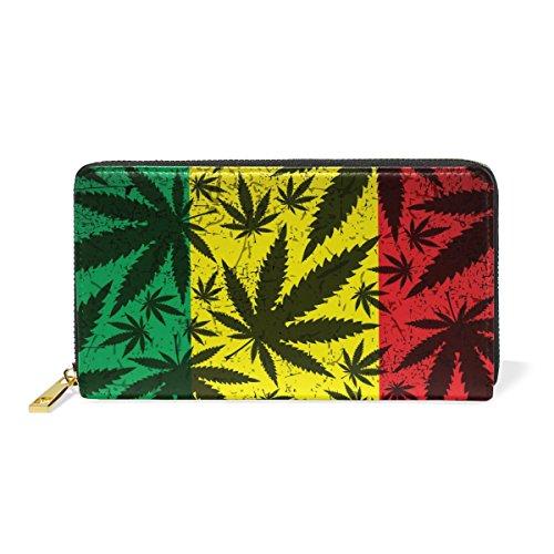 Zip Purses Handbags Clutch TIZORAX Wallet Grunge Rastafarian Womens Leather And Leaves Pattern Organizer Around 4 Hemp nxq0PCqwf