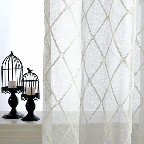 pureaqu Embroidered Rhomboic Voile Classic Sheer White Curtains Decorative Window Gauze Yarn for French Doors Rod Pocket Process 1 Panel W39 x H63 ()