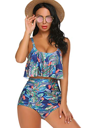 ADOME Women's High Waisted Bikini Set Two Piece Swimsuit Floral Printed Swimwear (Yellow Green, XL)