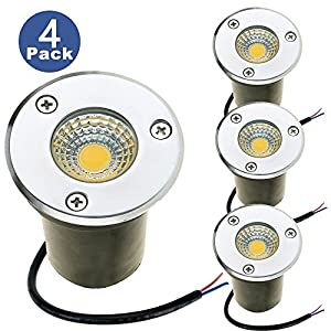ZUCKEO Landscape Lights 3W LED Outdoor Pathway Lights 12V 24V Low Voltage Water-resistant Spotlights for Indoor Outdoor Step Deck Yard Garden Patio,Warm White(4 pack )