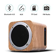 Ybee Bluetooth Speaker Wooden Wireless Speaker 6W With Advanced Bass Stereo Sound Outdoor Speaker Up To 10 Hours Playtime Support FM Radio ,SD ,3.5mm Audio Connection Portable Speaker For Car /Home/Office/Outdoor