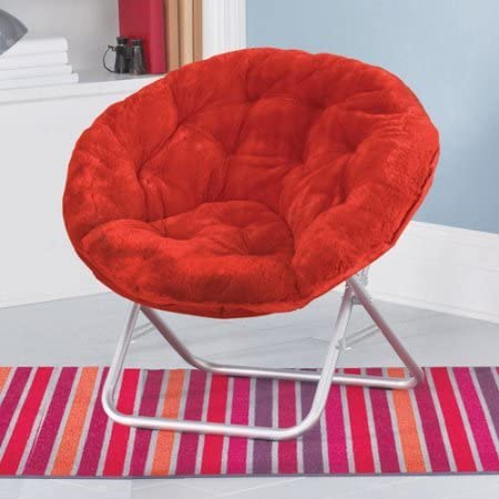 Mainstays Faux-Fur Saucer Chair, with Foldable steel frame, 100 polyester faux-fur fabric, Great for lounging, dorms or any room in Multiple Colors Red Engine