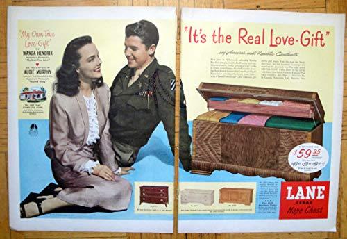 1948 Lane Cedar Hope Chest-Audie Murphy -Original 2 Page 13.5 * 10.5 Magazine Ad