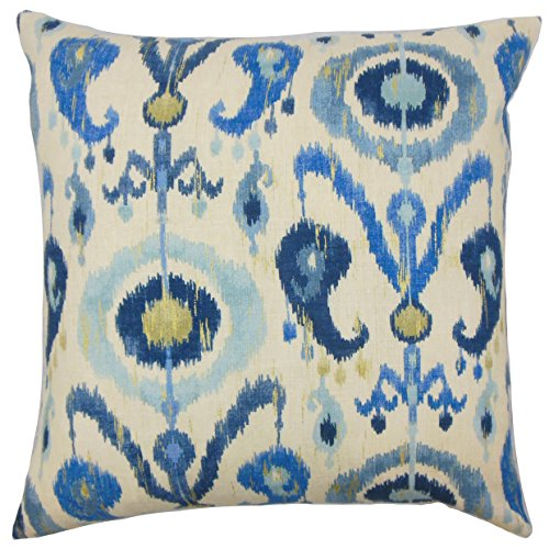 Ikat Euro Sham - The Pillow Collection Blue Abital Ikat Bedding Sham, Euro/26