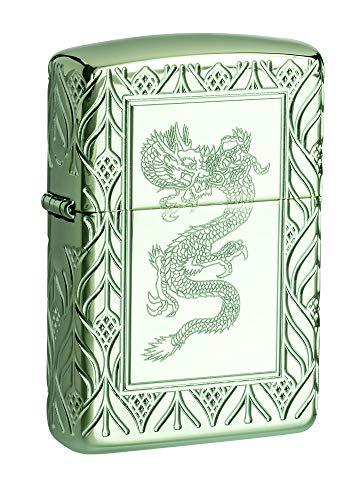 Zippo Armor High Polish Green Elegant Dragon (Zippo Luxury Lighter)