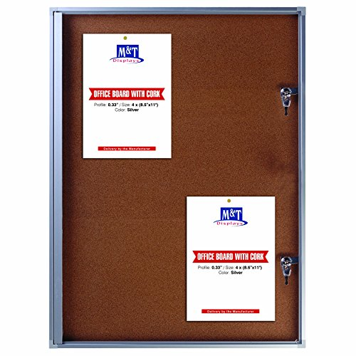 Cork Enclosed Bulletin Board For Outdoor Use With Locking Door 19x25 - Silver, Weatherproof Notice ()