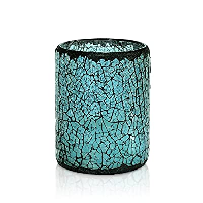 "GiveU Blue Crack Mosaic Glass Flameless Pillar Led Wax Candle with Timer,3X4"", for Home Decor, Valentine's Day and Awesome Gifts(Tiffany Blue) - ARE YOU PLANNING A PARTY OR WEDDING? -- Unique and unchained cracked mosaic glass design style. Made with high quality wax and mosaic glass that include a 4&8 hour timer. . .they are perfect for Weddings and Parties. . .or a quite evening for two. Now prepare to enjoy a party in the candlelight. . . EASY TO USE TIMER -- Just set the timer to illuminate the candle at the same time every day. The switch on the bottom of each candle allows you to set the 4/8 hour timer glow, automatically turn on at the same time on the next day. It toggles: Off/Timer for easy & convenient operation. Electric fake pillars which make a great gift for teens, seniors and anyone that love candles 4&8. PEACE & COMFORTABLE -- Enjoy all the benefits of traditional candles and none of the negatives! No more dripping-hot wax, no more smoke or worry about falling asleep without blowing out the candles. Blinking slowly, like a real candle flame, it won't have any scent, create romantic and peaceful private environment for your time. - living-room-decor, living-room, candles - 51KLZQQEttL. SS400  -"