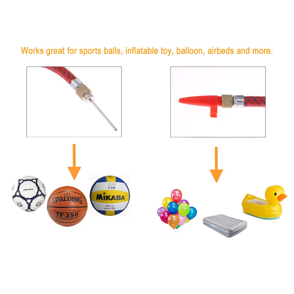 Basketball Volleyball Inflatable Toy Balloon Airbeds and more 10 Pieces Set Pump Needle Inflator Adapter Kit with Flexible Air Hose and Nozzle Valve Adapter Set Kit for Football