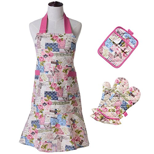 4 Piece Set Apron (KINGO HOME 100% Cotton Apron with Oven Mitts and Potholders (4-Piece Sets), Kitchen Everyday Basic Heat Resistant Set for Cooking and Baking)