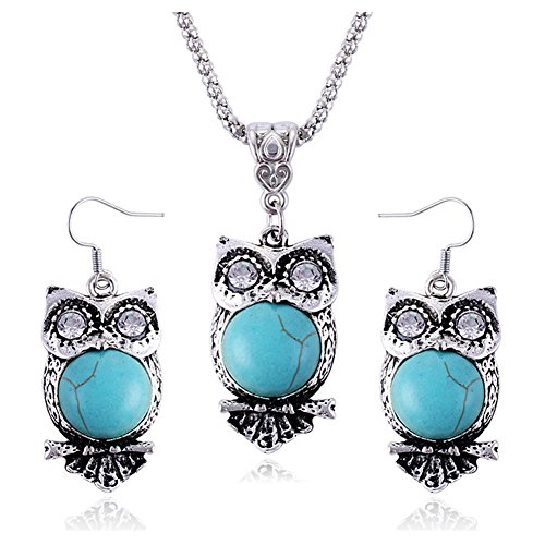 Zealmer Owl Necklace Earrings Set Rhinestone Clear Crystal Owl Jewelry Set Turquoise Color Best Gift