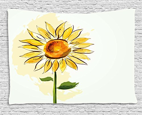 Ambesonne Flower Tapestry by, Summer Sunflower in Watercolor Soft Pastel Toned Large Petals Artwork, Wall Hanging for Bedroom Living Room Dorm, 60WX40L Inches, Fern Green Earth Yellow
