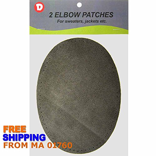 (Two Large Sew-On Natural Suede Elbow Patches 4.75 in x 6.5 in - Charcoal)