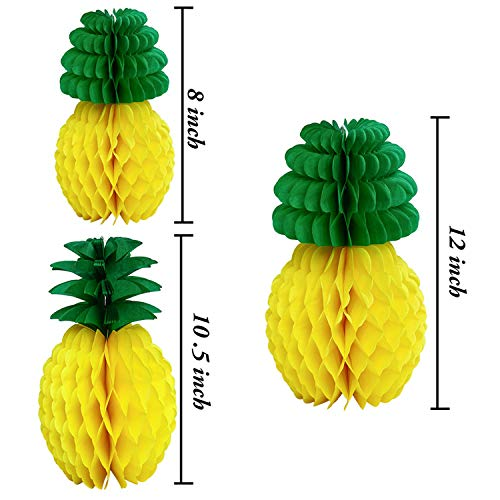 Romanly Pineapple Tissue Paper Honeycomb Ball Table Luau Hawaiian Party Hanging Decoration Birthday Party Favors Event Supplies M21 35cm]()