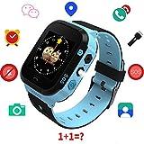 Kids Smart Watch GPS LBS Tracker Child Watch Phone Digital Wrist Watch SOS Alarm Clock Camera Flashlight Phone Watch for Children Age 3-12 Boys Girls with iOS Android (02 GM9 Blue)