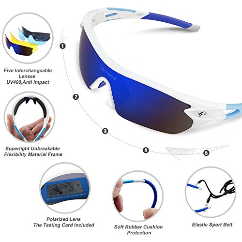Torege Polarized Sports Sunglasses With 5 Interchangeable Lenes for Men Women Cycling Running Driving Fishing Golf Baseball Glasses TR002 (White&Blue)