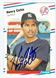Autograph Warehouse 41471 Henry Cotto Autographed Baseball Card New York Yankees 1988 Fleer No. 205