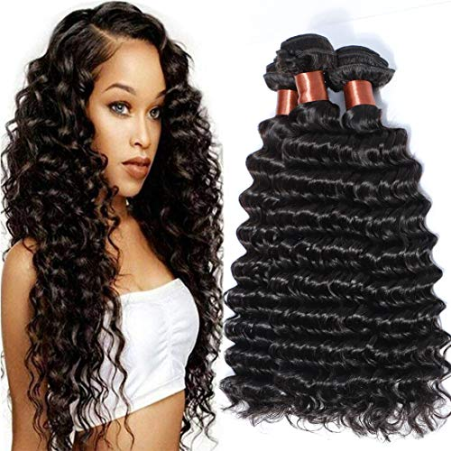 Angie Queen Virgin Human Hair Bundles Extensions Weaves Wefts Unprocessed Brazilian Virgin Hair Deep Wave Nature Black Color 3 Bundles 12 14 16inch (100+/-5g)/bundle Can be Dyed and Bleached from Angie Queen